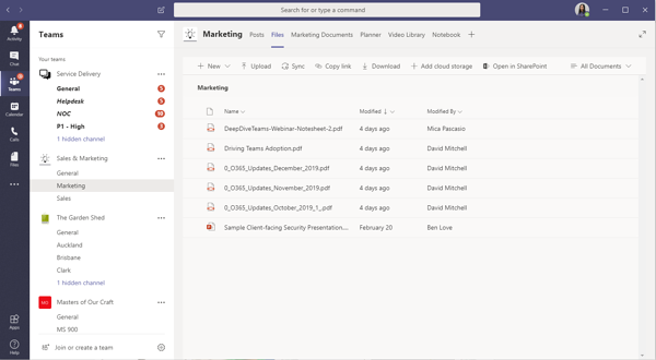 Screenshot of Document Library tab within a marketing team's Teams Channel