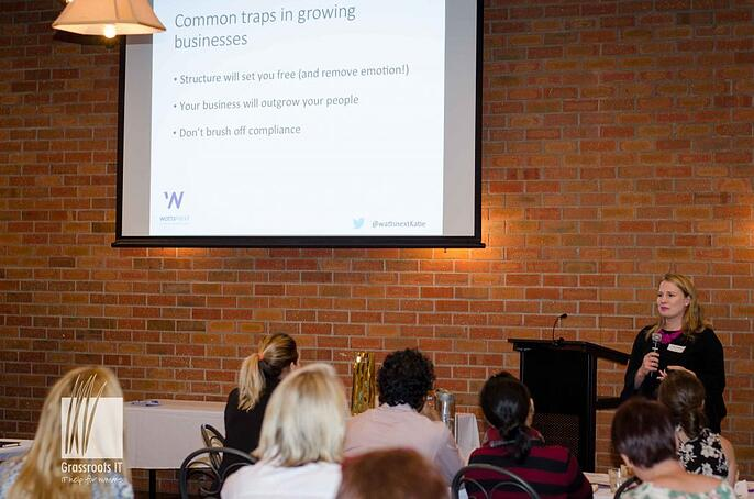 Katie of WattsNext speaking at The Small Business Download event in 2017