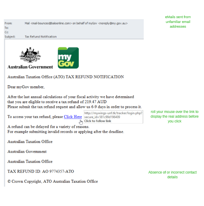Example of a phishing scam masquerading as an email from the Australian government.