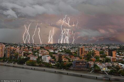 Lightning rods strike Brisbane during a Summer Storm