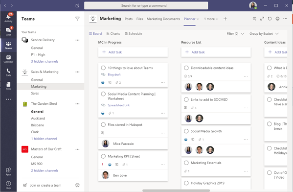 Screenshot of a Planner tab within a marketing team's Teams Channel