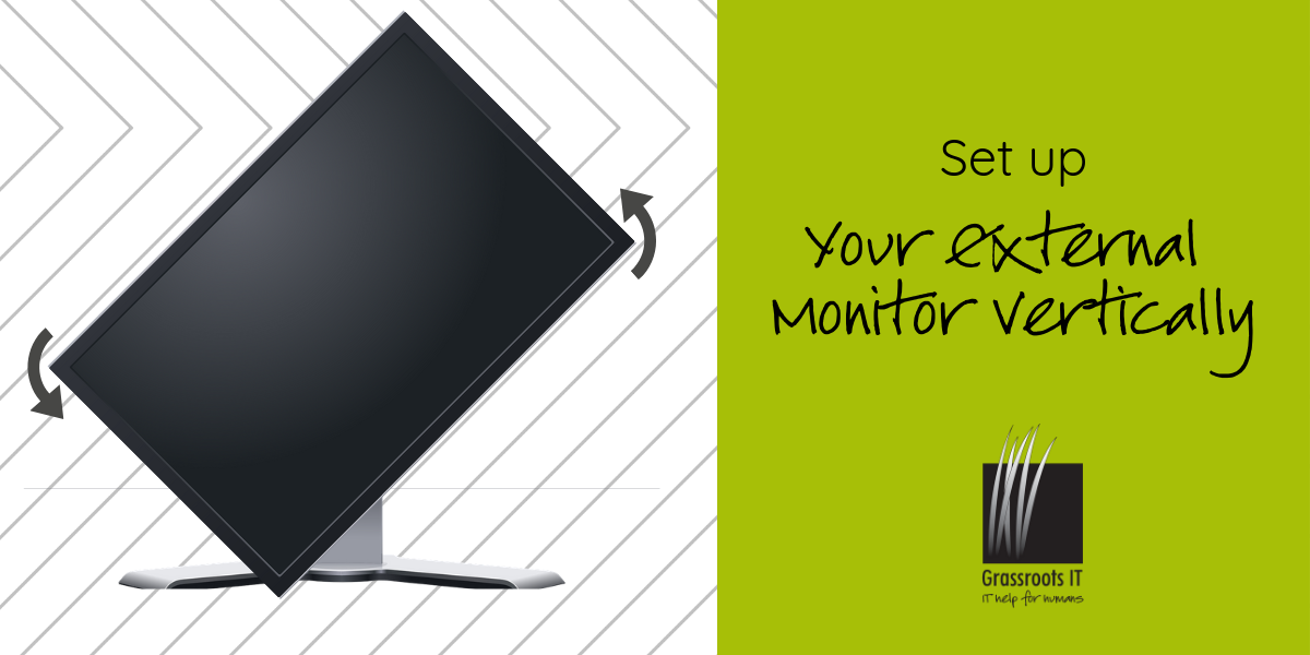 set up your external monitor vertically
